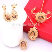 Cheap Wholesale-High Quality African Costume 18k Gold Plated Necklace Earrings Sets Purple or Orange Rhinestone Charming Crystal Jewelry Sets