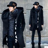 Wholesale Winter Mens Long Woolen Trench Coat Male Hooded Jacket Coat Korean Style For Men Warm Dress Overcoat colors Plus Size
