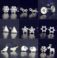 Wholesale 20 Pairs Fashion Women Stud Earrings High grade Silver Jewelry Wonderful A Variety of Snowflake Creative Earring