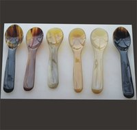 Wholesale One Set of African Buffao Horn Bowl and Spoon Boiled Egg or Jam Spoon Serving Scoop Kitchen Tools