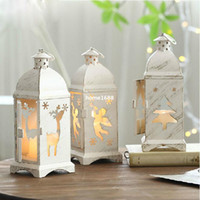 Wholesale Vintage Metal Candle Holder White Home Decor Decoration Angel Ornaments Desk Table Latern Candelabrum Candlestick For Wedding