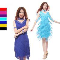 Wholesale Latin dance dress fringe dance dresses sexy fringe knee length dress Salsa tango tassel dresses black red blue purple colors L XL size