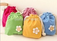 Cheap Lovely candy color small flower beam pockets Draw string bag key case coin purse storage bag 5pcs lot free shipping