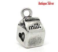 antique milk boxes - Antique Silver Milk Box Heart Charm Pendants x11mm quot x3 quot sold per packet of B16403