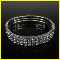 bracelets en argent achat en gros de-Free Ship Cheap Row 3 Stretch Bangle Strass Strass Cute Prom Homecoming Wedding Party bijoux de soirée Bracelet Accessoires nuptiale 15006