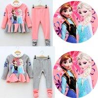 100% wool suits - Frozen Girl Clothing Set Thicken Add Wool Dress Pants Children Suit High Quality Cotton Anna Elsa Kids Suits