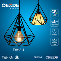 Wholesale chandeliers in china iron wire pendant lamp metal cage lamp wrought iron chandeliers lamp suitable E27 energy saving lamp bulb for home use