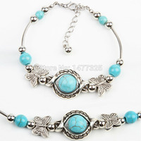 Wholesale New Arrive Turquoise Beads Silver Plated Butterfly Bracelet Handmade Accessories Fashion Jewelry