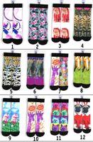 basketball sox - New D color unisex d printing socks women men hip hop socks cotton basketball socks odd sox socks adult sports stockings