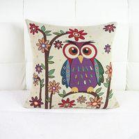 throw pillows square - Cute Pillow Case Couples Owl Print Linen Cushion Cover Square Home Throw Sofa Simple