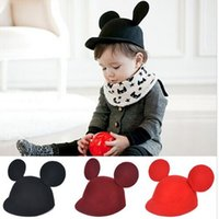 Wholesale Wool felt lovely Mouse parent child baby horseman hat his big ears Children s mickey ears equestrian cap