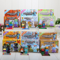 Wholesale 6pcs set Minecraft cm Steve Zombie Skeleton Enderman Building Block Toys Assembly Toy Compatible brick Figures For Gift with box