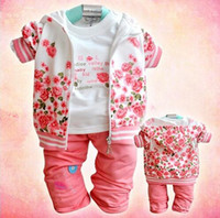 baby clothing outlets - New fashion Factory outlet baby clothing set cotton girl flower suit coat t shirt pants autumn kids wear Retail