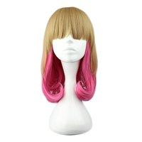 Kyoko Lolita pelucas onda del cuerpo de alta temperatura Rinka Hairdo Bang marrón rosa Icecream colorea cosplay pelucas