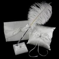 Wholesale Wedding Favor Diamante Ring Pillow Guest Book Feather Pen Stand Kit Romantic Bridal Decoration Product Supplies XSTZ YM