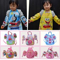 Wholesale 20sets Anime cartoon aprons with raglan sleeves sets Frozen SpiderMan KT Big hero children waterproof pinafore kids clothes suit HX