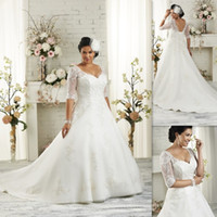 plus size wedding dresses - Half Sleeves Plus Size Wedding Dresses A line White Tulle Appliques Lace Bandage Bridal Gowns Elegant Maxi Dress For Big Size Brides