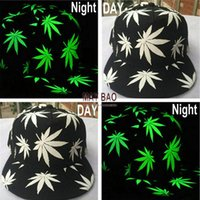 Wholesale 2015 Fashion Baseball Hats Luminous Night Glow Hip hop Sun Rockabilly Caps Snapback Weed Baseball Caps Five Piece at Least MYF219