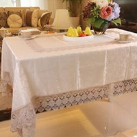 banquet tables sale - European High grade Lace Table Cloth Dining Table Cover Banquet Kitchen Wedding Rectangle Embroidered Mulit Size Hot Sale