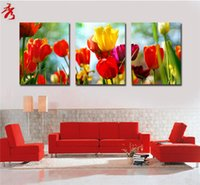 Wholesale Colorful Beautiful red yellow lily flowers unframed canvas paintings home wall sofa panel frameless picture room decoration