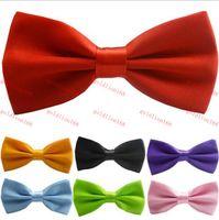 Wholesale Brand New Satin Mens Pre Tied Wedding Party Fancy Plain Necktie tie Bow Ties men women Polyester solid color bow ties