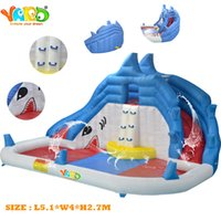 water slide - YARD hot selling splash swimming pool home use inflatable water slide water park toys with blower