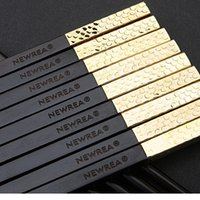 bead cutlery - Mother s Day Gift Newrea gold plated beads chopsticks ebony chopsticks family set advanced cutlery gift