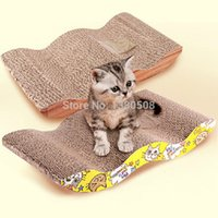 Wholesale Paper wood ages WAVE style Cat Scratcher with Catnip Cat Toy Cat Lounge Scratching Post Scratch Box Scratcher Bed scratch Pads Cardboard