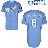 Wholesale Mike Moustakas Light Blue Jersey Cheap Baseball Jerseys Authentic Kansas City Royals Cool Base Jerseys