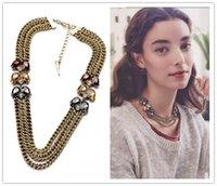 bib jewlery - Office Lady Love Elegant Imitation Gemstone Multi Chain Bib Collares Necklace Fashion Bijoux Dress Jewlery