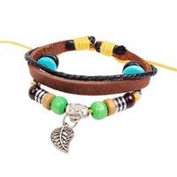 South American assurance for women - Quality Assurance Hollow Leaf Bracelet Snap Jewelry Leather Bracelets for Women Multilayer Infinity Black Charm Bracelet for Men