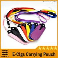 Wholesale Portable PU Leather Lanyard Carrying Pouch Pocket Neck Sling Rope Round Corner Case Cover For eGo eGo T eGo W eGo C eGo K twist e cig
