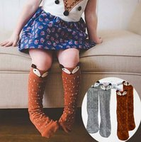 Wholesale Kids Fox Socks Leg Warmers children Knee High fox socks Cartoon Brand Designer socks Baby Girl Children Kawaii Sock For Age Years