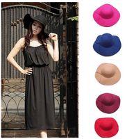 Wholesale Women s wide brim wool feeling felt bowler fedora hats for floppy cloche colors