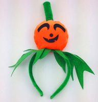 Wholesale Cute Pumpkin Children Head band For Halloween Festival hair ornament tight velvet pumpkin head band