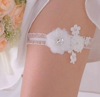 beaded wedding favors - New Arrival White Lace Garters Beaded Flowers Bridal Garters Cheap Elegant Wedding Acccessories Hotsale Lovely Wedding Favors