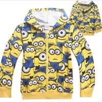Wholesale 2015 popular cartoon Despicable Me Minions spring autumn T boy kid zipper hoodies leisure wears long sleeve sweatshirts clothing
