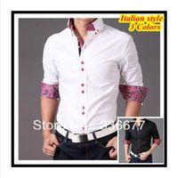 shirts for men italian - Italian designer button down Collar Slim fit Long Sleeve Prints shirt for men Hombres de camisa