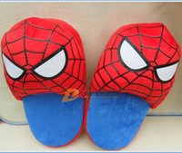 house slippers men - 2015 hot cartoon slippers superhero spiderman home shoes house soft anti slip slipper shoe christmas shoe for Adult man J123103