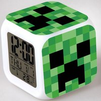 Wholesale 2014 hot Minecraft alarm clock frozen alarm clock LED Colors Change Digital Alarm Clock Night Colorful Changing toys