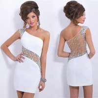 Wholesale 2017 Sparky Short Party Dresses With Crystals Beaded Sheath Formal Dresses One Shoulder Homecoming Dress Under Prom Dresses for Girl