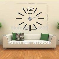 Wholesale DIY Wall Clock Modern Design Home Decoration Decor Living Room Big Metal Hours Watch Stickers Creative Design12S003