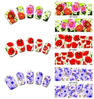 nail tattoo sticker - 10 sheets designs New arrival Nail Art Flower Water Transfers Stickers Nails Decals Wraps Tattoo Accessories