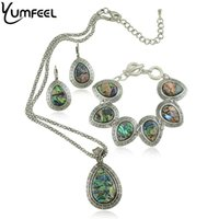 Wholesale Vintage Shell Jewelry Set Metal with Antique Silver Plated Drop Shell Necklace Earring and Bracelet Set