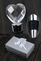 Wedding Stopper Wedding Hawaii Series Crystal Heart Shaped Red Wine Bottle Stopper Boxed For Birthday Bridal Shower Wedding baptism Party Favor Gift Boxed 1203#03