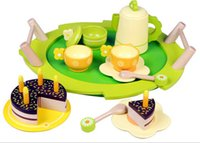 baby tea sets - Baby Toys birthday party Play House Toys Afternoon wood Tea amp cake set toys for girls cozinha de brinquedo