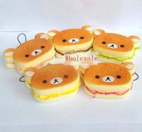 Wholesale 30pcs cm Kawaii Rilakkuma Phone charms Squishies Bun Bag Charm Cartoon Rare Squishy Bread Cell Phone Straps cheap