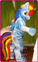 adult rainbow costume - Hot Cartoon Character Rainbow Dash My Little Pony Mascot Adult Costume Custom Theme Carnival Mascotte Anime Fancy Dress Kits