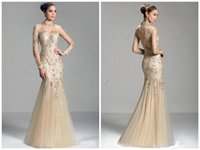 Wholesale champagne long sleeve Mother of the Bride Dresses sheer high neck lace applique beads mermaid prom evening formal gowns