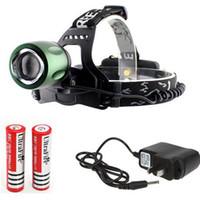 achat en gros de télescopique caché-CREE XM-L T6 LED 3-Mode Rotation télescopique Mise au point réglable Zoom headlamp avec Chargeur USB + Chargeur secteur + 2x 18650 batterie